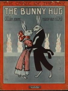 The Bunny Hug. Shows to anthropomorphic bunnies dancing